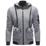 cheap Pocket Design Zippered Drawstring Hoodie