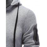 Pocket Design Zippered Drawstring Hoodie for sale