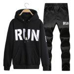 Kangaroo Pocket Run Printed Pullover Hoodie Twinset - BLACK