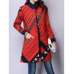 Button Up Printed Quilted Coat deal