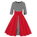 Midi Striped Formal Skater Cocktail Dress - RED