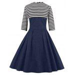 Midi Striped Formal Skater Cocktail Dress - BLUE