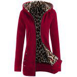 Thick Leopard Printed Inside Hoodie - WINE RED