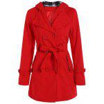 Hooded Double Breasted Belted Long Trench Coat - RED