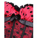 Cami Lace Insert Polka Dot Corset Top - RED