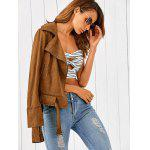 best Zip Pocket Faux Suede Jacket