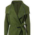 Zipped Belted Long Shawl Wrap Coat - ARMY GREEN