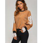 Crew Neck Crochet Flower Spliced Corduroy Sweatshirt deal