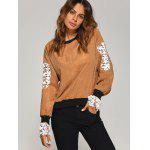 best Crew Neck Crochet Flower Spliced Corduroy Sweatshirt