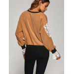 Crew Neck Crochet Flower Spliced Corduroy Sweatshirt photo