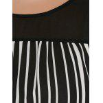 Plus Size High Low Hem Striped Blouse - WHITE AND BLACK