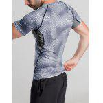 Quick-Dry Snakeskin Pattern Short Sleeve Gym T-Shirt - GRAY