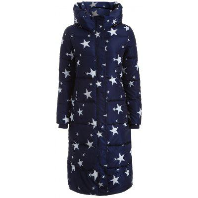 Star Print Hooded Padded Coat