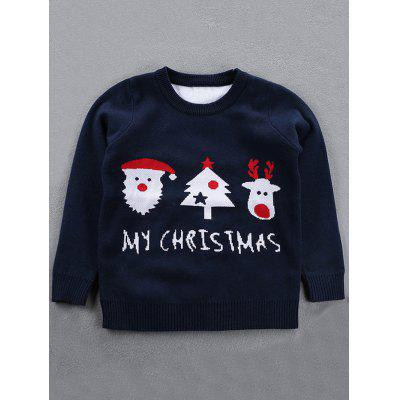 Buy DEEP BLUE Crew Neck Kids Jacquard Pullover Christmas Sweater for $13.04 in GearBest store