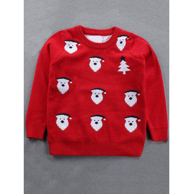Crew Neck Kids Santa Jacquard Pullover Christmas Sweater