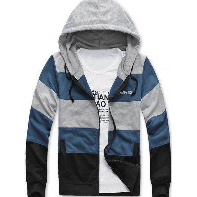 Color Striped Side Pocket Zip Up Hoodie