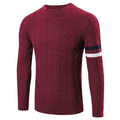 Buy WINE RED Round Neck Long Sleeves Geometric Jacquard Sweater for $23.57 in GearBest store