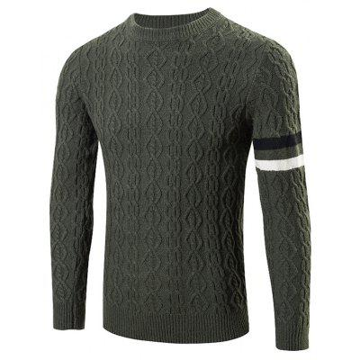Buy GREEN Round Neck Long Sleeves Geometric Jacquard Sweater for $23.57 in GearBest store