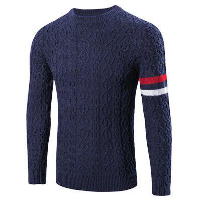 Buy CADETBLUE Round Neck Long Sleeves Geometric Jacquard Sweater for $23.57 in GearBest store