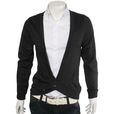 Buy BLACK Slimming One Button V-Neck Cardigan for $15.18 in GearBest store