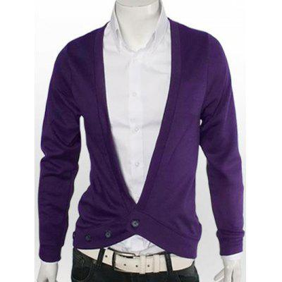 Buy DEEP PURPLE Slimming One Button V-Neck Cardigan for $15.18 in GearBest store