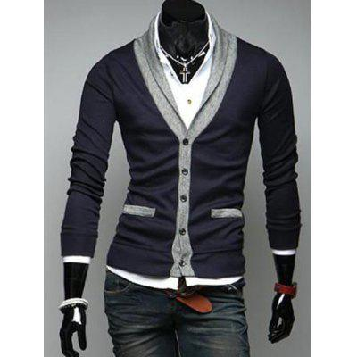 Buy CADETBLUE Two Pocket Styling Shawl Collar Cardigan for $13.49 in GearBest store