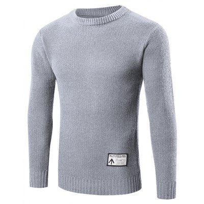 Buy GRAY M Ribbed Trim Patched Crew Neck Knit Sweater for $24.88 in GearBest store