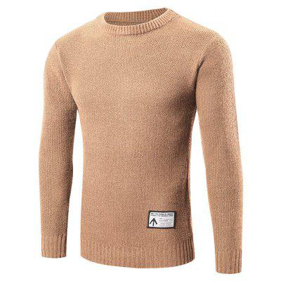 Buy KHAKI L Ribbed Trim Patched Crew Neck Knit Sweater for $24.88 in GearBest store