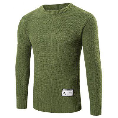 Buy GREEN L Ribbed Trim Patched Crew Neck Knit Sweater for $24.88 in GearBest store