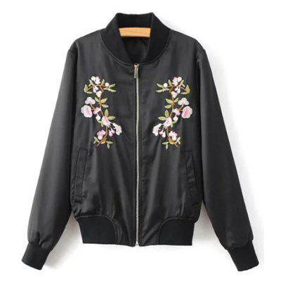 Stand Neck Floral Embroidered Fall Bomber Jacket
