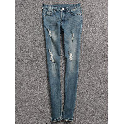Womens light blue ripped skinny jeans