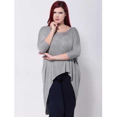 Asymmetric Batwing Sleeves T-ShirtPlus Size Tops<br>Asymmetric Batwing Sleeves T-Shirt<br><br>Collar: Scoop Neck<br>Material: Cotton, Polyester<br>Package Contents: 1 x T-Shirt<br>Pattern Type: Solid<br>Season: Spring, Summer, Fall<br>Shirt Length: Long<br>Sleeve Length: Three Quarter<br>Style: Fashion<br>Weight: 0.270kg