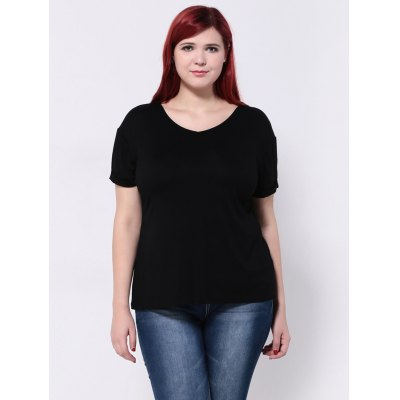 Hemming Sleeves Drop Shoulder T-ShirtPlus Size Tops<br>Hemming Sleeves Drop Shoulder T-Shirt<br><br>Collar: V-Neck<br>Material: Cotton, Polyester<br>Package Contents: 1 x T-Shirt<br>Pattern Type: Solid<br>Season: Summer<br>Shirt Length: Regular<br>Sleeve Length: Short<br>Style: Fashion<br>Weight: 0.270kg