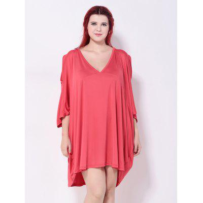 Asymmetric Cold Shoulder Batwing Sleeves DressPlus Size Dresses<br>Asymmetric Cold Shoulder Batwing Sleeves Dress<br><br>Dresses Length: Knee-Length<br>Embellishment: Hollow Out<br>Material: Cotton, Polyester<br>Neckline: Plunging Neck<br>Package Contents: 1 x Dress<br>Pattern Type: Solid<br>Season: Fall, Summer, Spring<br>Silhouette: Asymmetrical<br>Sleeve Length: 3/4 Length Sleeves<br>Sleeve Type: Batwing Sleeve<br>Style: Casual<br>Weight: 0.320kg<br>With Belt: No
