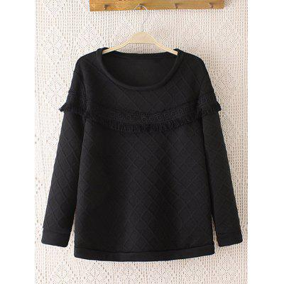 Rhombus Pattern Crochet-Trim Thicken Sweatshirt