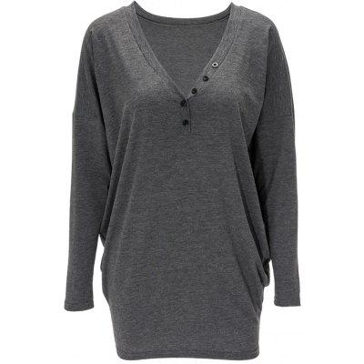 V Neck Front Button Long Sweatshirt