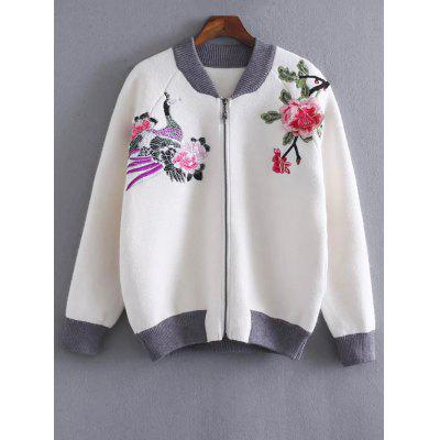 Floral Embroidered Front Zipper Cardigan