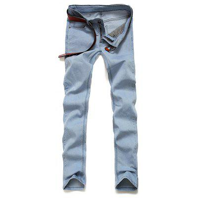 Skinny Zip Fly Light Denim Jeans
