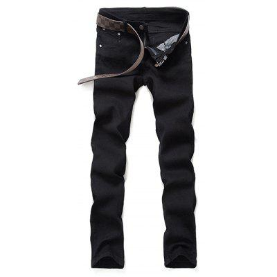Mid Waist Zipper Fly Black Skinny Jeans
