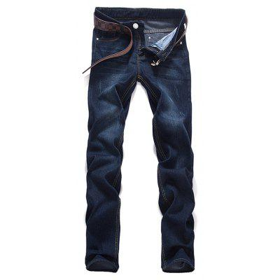 Mid Waist Zipper Fly Dark Washed Jeans