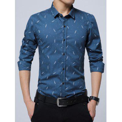 Buy LAKE BLUE Polka Dot Plant Printed Long Sleeve Shirt for $8.16 in GearBest store
