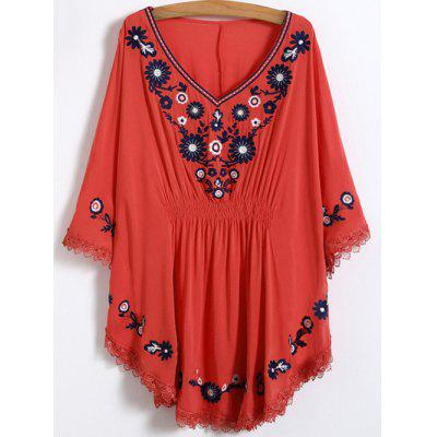 V Neck Floral Mexican Embroidered Dolman Blouse