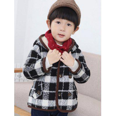 Hooded Double Breasted Plaid Coat