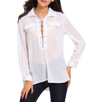 High Low Hem Sheer Lace Up Front Shirt