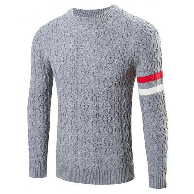 Buy GRAY Round Neck Long Sleeves Geometric Jacquard Sweater for $27.83 in GearBest store