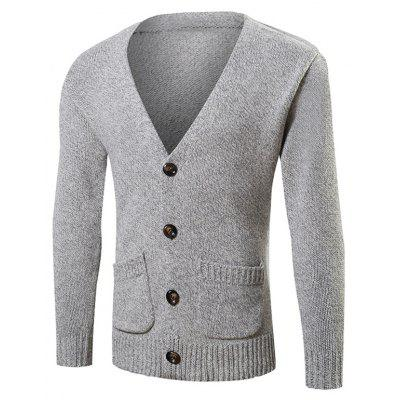 Buy GRAY Pocket Button Up Knit Cardigan for $13.25 in GearBest store