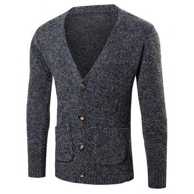 Buy BLACK Pocket Button Up Knit Cardigan for $14.40 in GearBest store