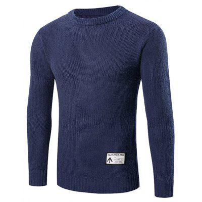 Buy CADETBLUE M Ribbed Trim Patched Crew Neck Knit Sweater for $24.88 in GearBest store