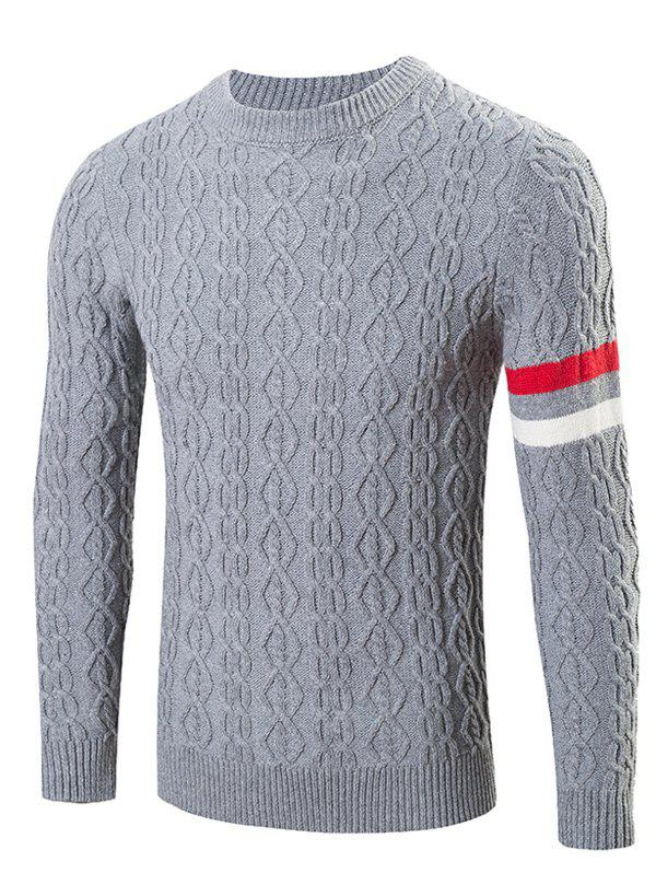 GRAY Round Neck Long Sleeves Geometric Jacquard Sweater