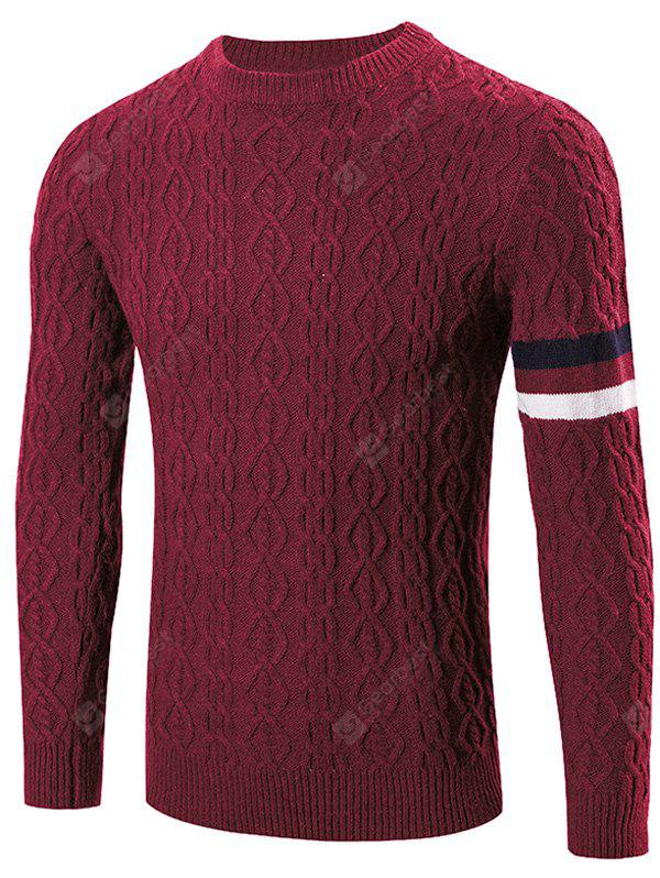 WINE RED Round Neck Long Sleeves Geometric Jacquard Sweater